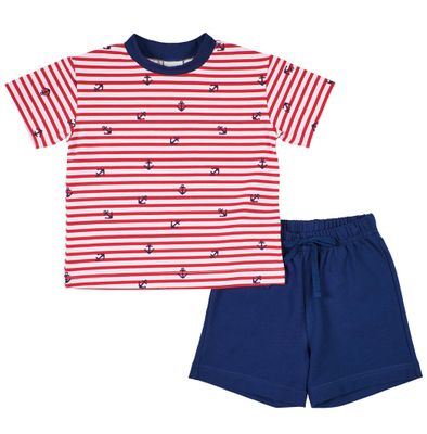Florence Eiseman Knits Baby / Toddler Boys Red Striped Anchor Shirt with Navy Blue French Terry Shorts