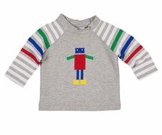 Florence Eiseman Knitwear - Baby / Toddler Boys Grey Robot Shirt with Primary Color Stripes