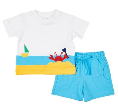 Florence Eiseman Knits Baby / Toddler Boys Turquoise Blue Shorts with Crab Shirt