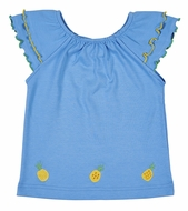 Florence Eiseman Knitwear - Girls Blue Elastic Neck Top - Yellow Pineapples