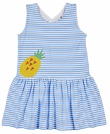 Florence Eiseman Knitwear - Girls Blue Striped Crossback Dress - Yellow Pineapple