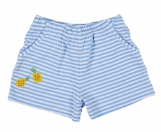 Florence Eiseman Knitwear - Girls Blue Striped Shorts with Pockets - Yellow Pineapples