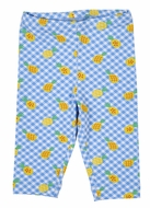 Florence Eiseman Knitwear - Girls Blue / Yellow Pineapple Print Capri Leggings
