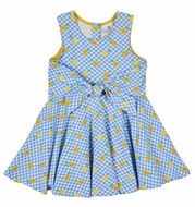 Florence Eiseman Knitwear - Girls Blue / Yellow Pineapple Print Tie Front Dress