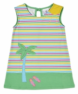Florence Eiseman Knitwear - Girls Colorful Striped Dress - Green Palm Tree