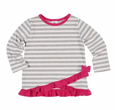 Florence Eiseman Knitwear - Girls Gray Striped Tunic Top with Pink Ruffles