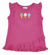 Florence Eiseman Knitwear - Girls Hot Pink Ruffle Top - Ice Cream Cones