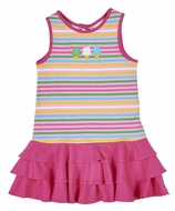 Florence Eiseman Knitwear - Girls Hot Pink Ruffles & Stripes Ice Cream Dress