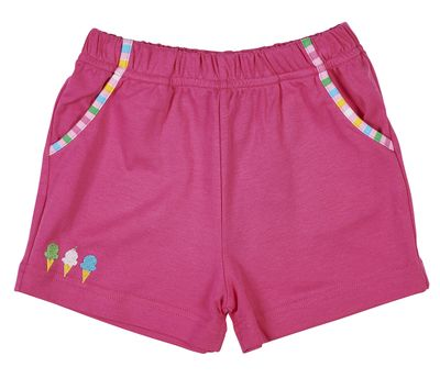 Florence Eiseman Knitwear - Girls Hot Pink Shorts with Pockets - Ice Cream Embroidery