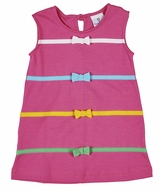Florence Eiseman Knitwear - Girls Hot Pink Sleeveless Dress - Bands with Bows