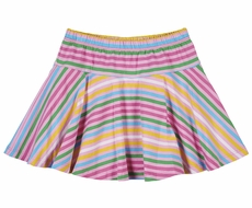 Florence Eiseman Knitwear - Girls Pink / Blue / Green Stripes Skater Skort