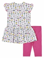 Florence Eiseman Knitwear - Girls Summer Print Dress with Hot Pink Capri Leggings
