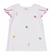 Florence Eiseman Knitwear - Girls White Petal Sleeve Top - Ice Cream Embroidery