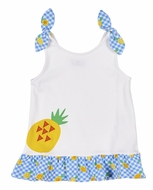 Florence Eiseman Knitwear - Girls White Top - Blue Ties / Yellow Pineapple