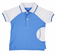 Florence Eiseman Toddler Boys Blue Baseball Polo Shirt