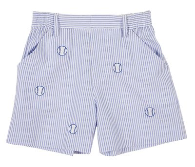 Florence Eiseman Toddler Boys Blue Seersucker Shorts - Embroidered Baseballs