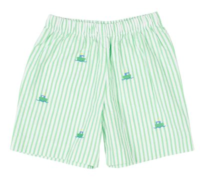 Florence Eiseman Toddler Boys Green Seersucker Shorts - Embroidered Tug Boats