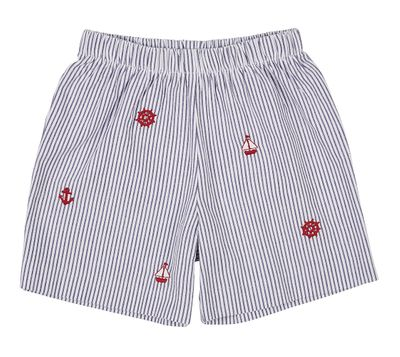 Florence Eiseman Toddler Boys Navy Blue Stripe Seersucker Shorts - Nautical Embroidery