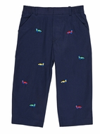 Florence Eiseman Toddler Boys Navy Blue Twill Pants - Embroidered Race Cars