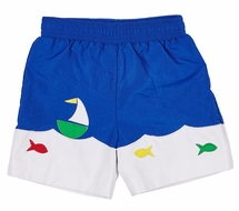 Florence Eiseman Toddler Boys Royal Blue Swim Trunks with Boat & Fish