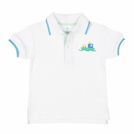 Florence Eiseman Toddler Boys White Polo Shirt - Car Ferry Boat