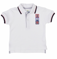 Florence Eiseman Toddler Boys White Polo Shirt - Nautical Flags