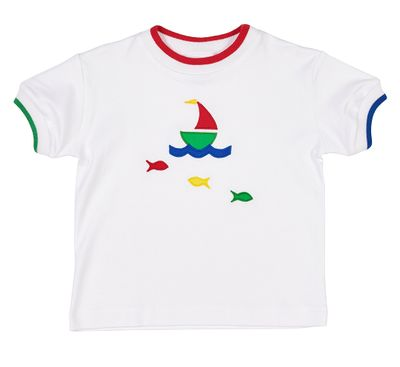 403fbd46 Florence Eiseman Toddler Boys White Tee Shirt - Applique Sailboat & Fish