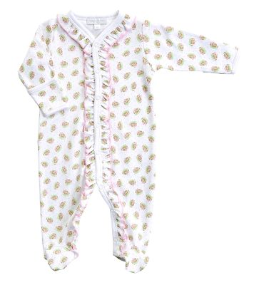 Magnolia Baby Girls Pink Football Fever Printed Ruffle Footie