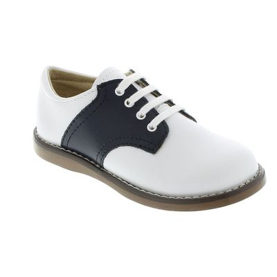 Footmates Childrens Shoes - Cheer Saddle Oxford - White / Navy Blue