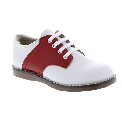 Footmates Childrens Shoes - Cheer Saddle Oxford - White / Apple Red