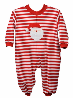 Funtasia Baby Boys / Girls Red Candy Cane Stripe Knit Romper - Applique Santa Face