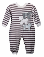 Funtasia Baby Boys Three Dogs - Gray Striped Knit Romper