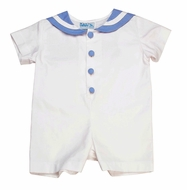 Funtasia Baby Boys White Sailor Romper with Blue Trim
