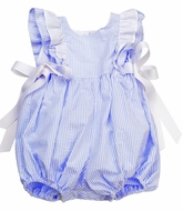 Funtasia Baby Girls Blue Stripe Seersucker Pinafore Bubble with Bows