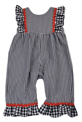 Funtasia Baby Girls Navy Blue Check Romper - Red Rick Rack Trim