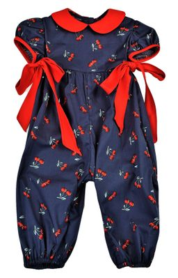 Funtasia Baby Girls Navy Blue Cherries Romper - Red Bows at Sides