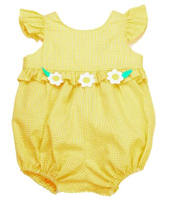 Funtasia Baby Girls Yellow Gingham Flowers Angel Sleeve Bubble