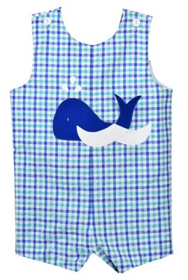 Funtasia Baby / Toddler Boys Blue Plaid Whale Shortall