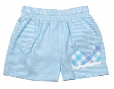 Funtasia Baby / Toddler Boys Blue Stripe Seersucker Whale Swim Trunks