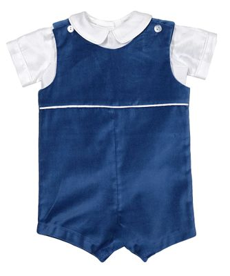 Funtasia Baby / Toddler Boys French Blue Velvet Shortall with Shantung Shirt