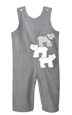 Funtasia Baby / Toddler Boys Gray Corduroy Longall - Three Dogs