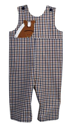 Funtasia Baby / Toddler Boys Navy Blue / Brown Plaid Horse Longall