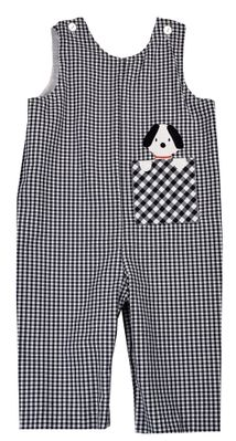 Funtasia Baby / Toddler Boys Navy Blue Check Longall - Dog in Pocket