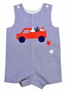 Funtasia Baby / Toddler Boys Navy Blue Check / Red Truck Full of Stars Shortall