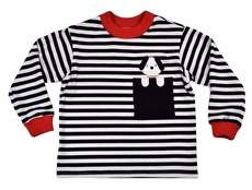 Funtasia Baby / Toddler Boys Navy Blue Stripe Shirt - Dog in Pocket
