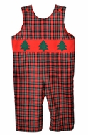 Funtasia Baby / Toddler Boys Red Holiday Plaid Longall with Christmas Trees