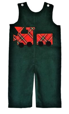 Funtasia Baby / Toddler Boys Red Holiday Plaid Train on Green Longall