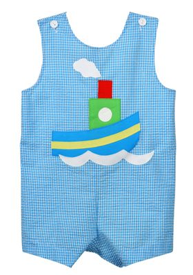 Funtasia Baby / Toddler Boys Turquoise Blue Check Tugboat Shortall