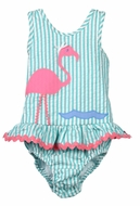 Funtasia Baby / Toddler Girls Aqua / Pink Flamingo Ruffle Swimsuit - One Piece