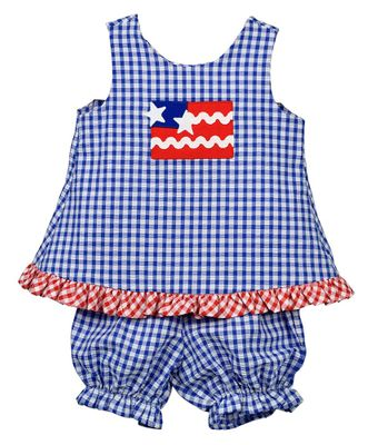 Funtasia Baby / Toddler Girls Blue Check Patriotic Flag Bloomers Set